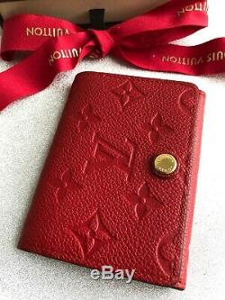 100% Authentic Louis Vuitton Business Card Holder Monogram Empreinte Leather Red