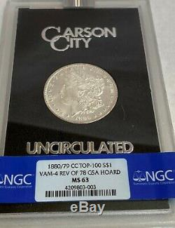 1880/79 CC Rev'78 Gsa Hoard Ngc Ms 63 With Coa Cards And Holder Beautiful