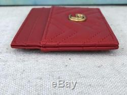$250 GUCCI GG Marmont Red Leather Chevron Business Card Holder Wallet Slim SALE