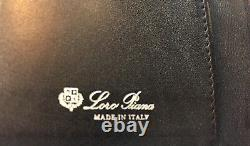 525$ Loro Piana Black Washed Leather My Business Cards Case Made in Italy