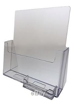 8.5 x 11 Brochure Holders with Business Card Holder 20-pack Acrylic Wholesale