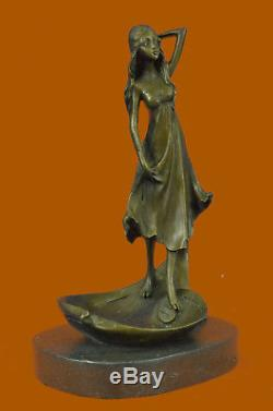ART NOUVEAU LADY LOTUS STATUE JEWELRY DISH Soap Business Card Holder Tray Bronze