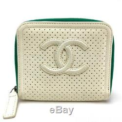 AUTHENTIC CHANEL CC Mark Business Card Holder Zip Around Card Case