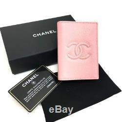 AUTHENTIC CHANEL Unused! CC Leather Business Card ID Card Holder Pink A80954
