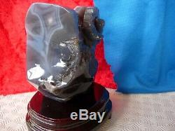 Agate geode goat/ram carving/business card holder on wooden base