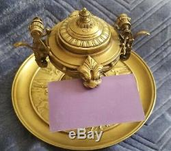 Antique Bronze Inkwell, Bell & Business Card Holder All In One