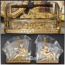 Antique French Empire Style Gilt Bronze & Baccarat Glass Business Card Holder