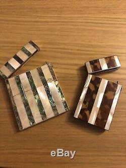 Antique business card box holders one in mother of pearl and one tortoiseshell