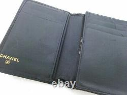 Auth CHANEL Black Lambskin Business Card Holder
