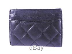 Auth CHANEL CC Matelasse Business Card Case Holder Caviar Skin Black A31510 7960