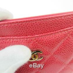 Auth CHANEL CC Matelasse business card case holder leather Rose Red Used Ladies