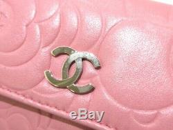 Auth CHANEL Camellia A50088 Pink Lambskin Business Card Holder