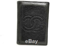 Auth CHANEL Caviar Skin Black Business Card Holder