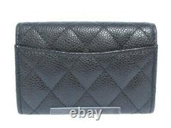 Auth CHANEL Matelasse AP0214 Black Caviar Skin Business Card Holder