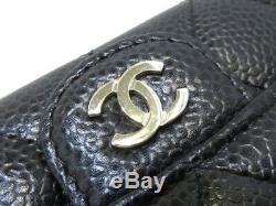 Auth CHANEL Matelasse Black Caviar Skin Business Card Holder