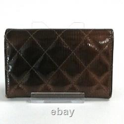 Auth CHANEL Matelasse Brown Patent Leather Business Card Holder
