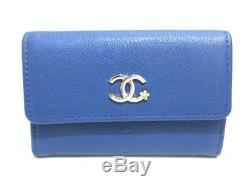 Auth CHANEL Navy Leather Business Card Holder