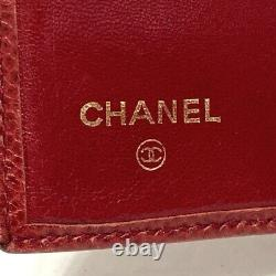 Auth CHANEL Red Caviar Skin Business Card Holder