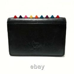 Auth CHRISTIAN LOUBOUTIN Black Red Multi Leather Business Card Holder