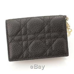 Auth Christian Dior Leather Canage Business Card Holder Black 89038
