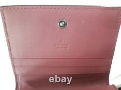 Auth GUCCI GG Blooms 410088 Brown Gray Pink PVC & Leather Business Card Holder