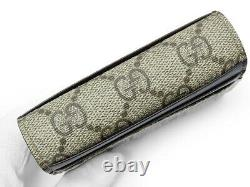 Auth GUCCI GG Supreme Card case pass case business card holder 386862