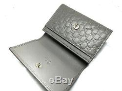Auth GUCCI Guccissima 544030 Gray Leather Business Card Holder