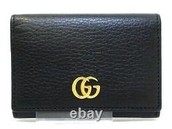 Auth GUCCI Petit Marmont 474748 Black Leather Business Card Holder
