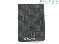 Auth LOUIS VUITTON damier graphite Card Case Business Card Holder N63143