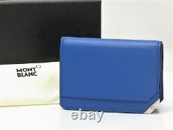 Auth MONT BLANC Unused Leather Business Card Case Holder Blue Italy 18623101