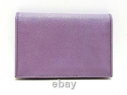 Auth PRADA PinkBeige Leather Business Card Holder