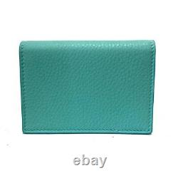 Auth TIFFANY&Co. Tiffany Blue Leather Business Card Holder