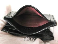 Authentic BVLGARI Made in Italy Black Leather Business Card Holder Case + Box