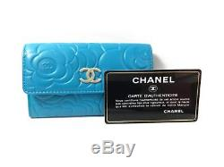 Authentic CHANEL Camelia Line Card Case Business Card Holder Blue Used