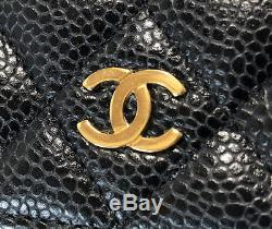 Authentic CHANEL Caviar Skin Card Case Business Card Holder A50169 Black Leather
