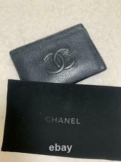 Authentic CHANEL black caviar skin card case business card holder withbox card