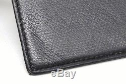 Authentic Chanel Coco Button Leather Business Card Holder Case Purse Black Gold