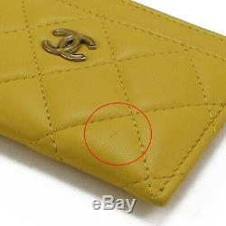 Authentic Chanel business card holder Matrasse card case Pass case yellow Lamb