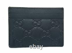 Authentic GUCCI Card Case Leather Black 256444 Business Card Holder