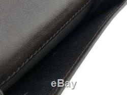 Authentic GUCCI card case business card holder dark brown leather GG 278561