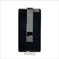 Authentic Gucci card case money clip 115268 business card holder GG leather