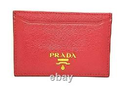 Authentic PRADA Card Case 1M0208 Business Card Holder Saffiano Leather Pink