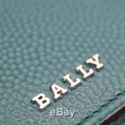 Bally Bifold Card Case Pass Case Business Card Holder Leather Green