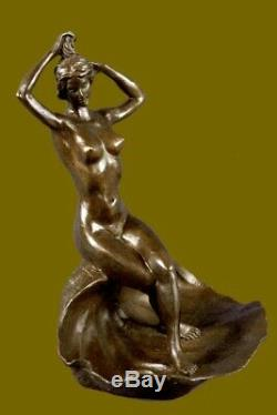 Bronze Seashell Girl by American Artist Brines Business Card Holder Statue Deal