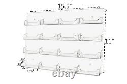 Business Card Holder 16 Pocket Wall Mount Display Rack Card System Qty 24