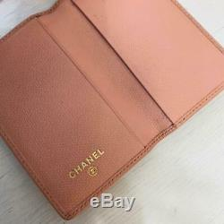 CHANEL Authentic Women's Card Case business card holder Pink Leather Coco Mark