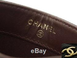 CHANEL CC Matelasse Business Card Case Holder Caviar Skin Leather Black Gold