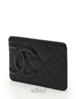 CHANEL Cambon-line business card holder card case leather enamel leather black