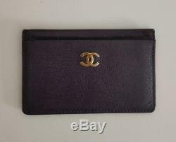 CHANEL Card case Business card holder Dark purple color Authentic #4503Q