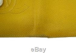 CHANEL Caviar Skin card case business card holder yellow used 200422 0015 1325